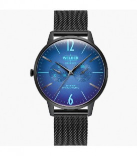 WELDER 42MM 3H SLIM BLACK SS MESH BLUE D WWRS401