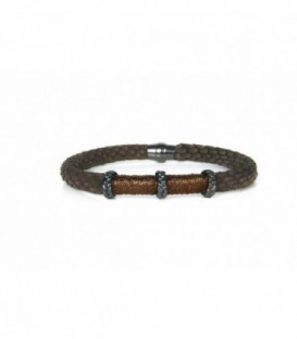 PULSERA PIEL MARRON/3 DON/HILO MARRON BH027-3