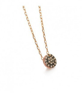 COLLAR ORO ROSA DIAMANTES BROWN 0,10 CTS GD073OR.BR